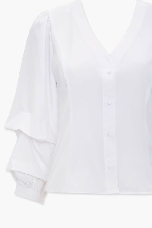 Buttoned Gathered-Sleeve Top, image 3