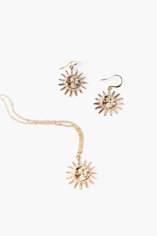 Sun Pendant Drop Earrings & Necklace Set, image 1