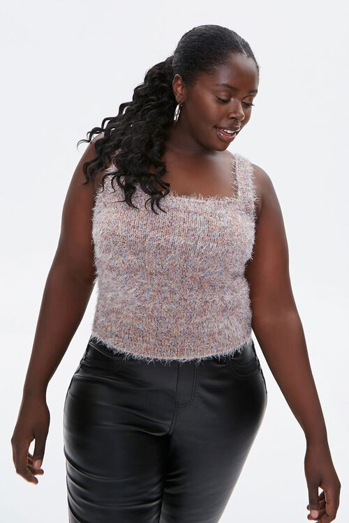 Plus Size Fuzzy Sweater-Knit Crop Top, image 1