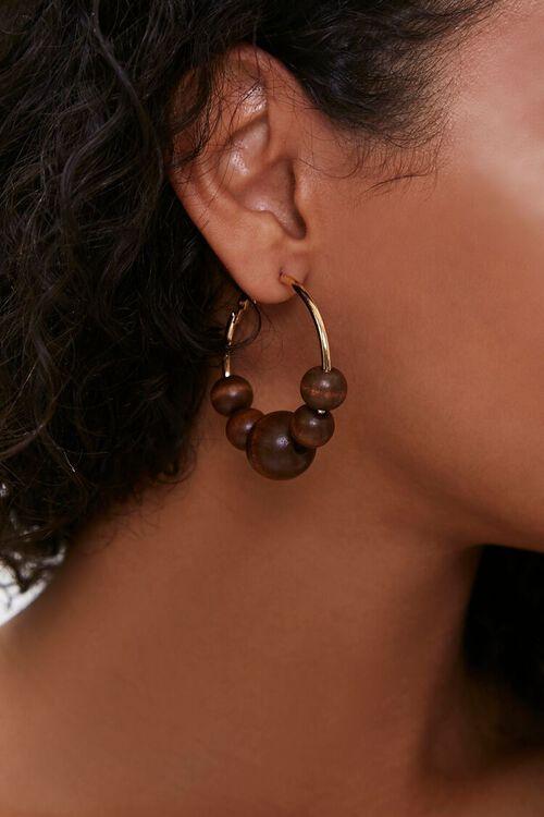 Wooden Bead Hoop Earrings, image 1