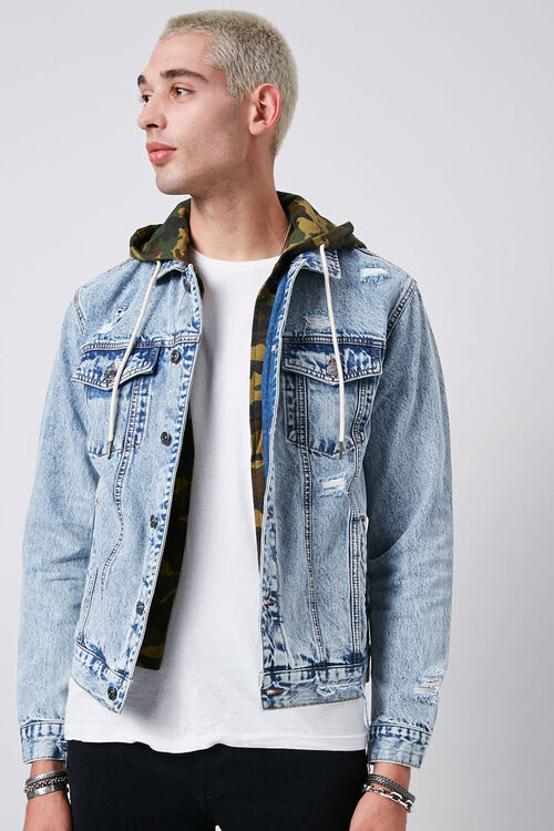 Camo Hooded Sunbleached Denim Jacket, image 5