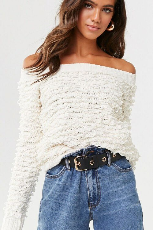 CREAM Off-the-Shoulder Loop-Knit Sweater, image 1