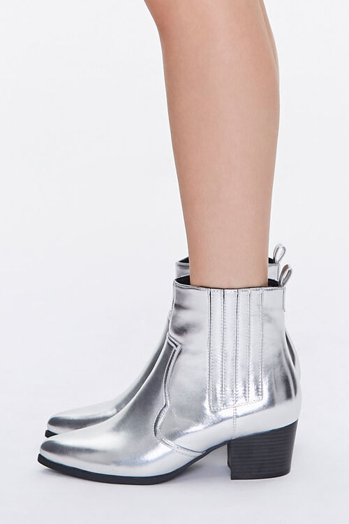 Faux Leather Pointed Toe Booties, image 2
