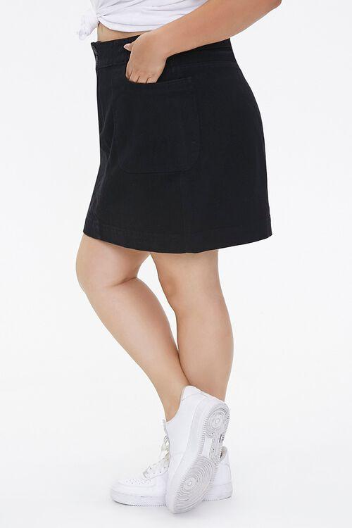 BLACK Plus Size Denim Mini Skirt, image 3