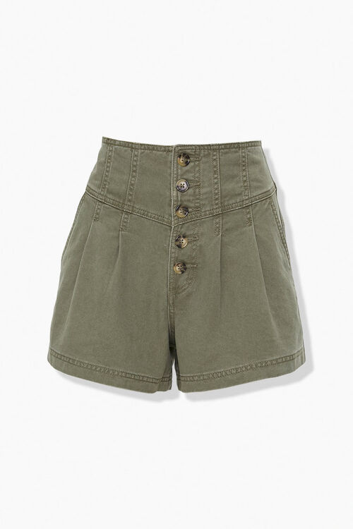 OLIVE High-Rise Button-Up Shorts, image 1