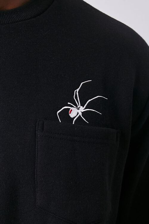 BLACK/WHITE Embroidered Spider Graphic Pullover, image 5