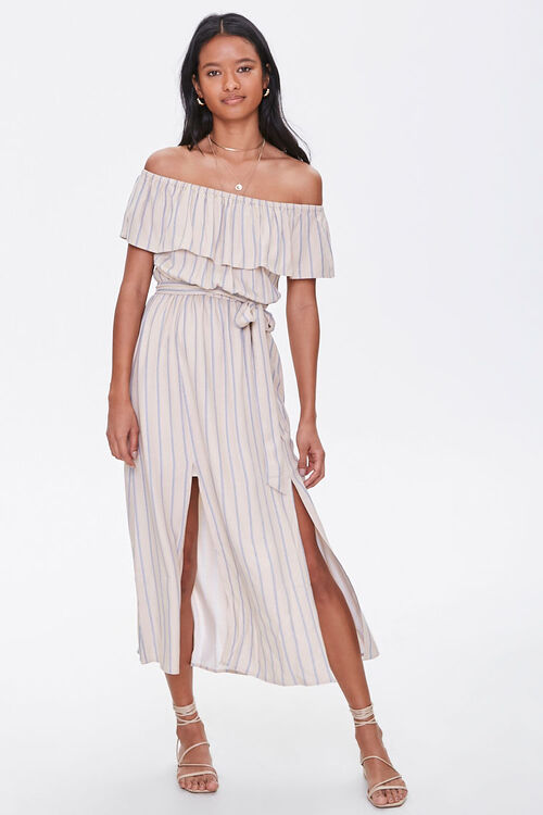 Striped M-Slit Maxi Dress, image 1