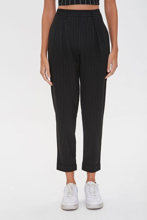 BLACK/WHITE Pinstriped Ankle Pants, image 2