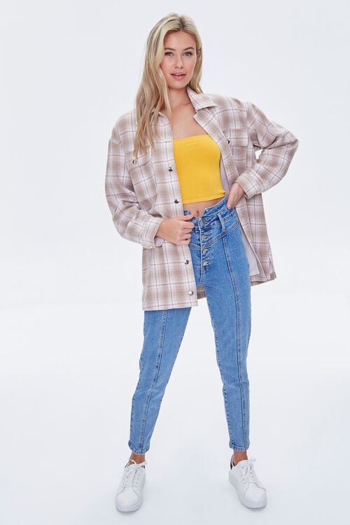Plaid Button-Front Shacket, image 4