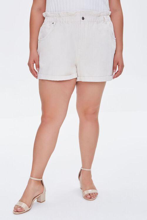 Plus Size Paperbag Denim Shorts, image 2
