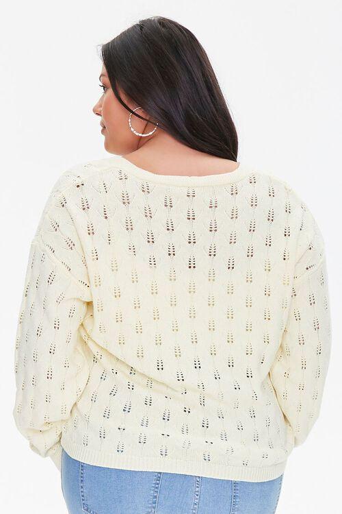 Plus Size Open-Knit Cardigan Sweater, image 3