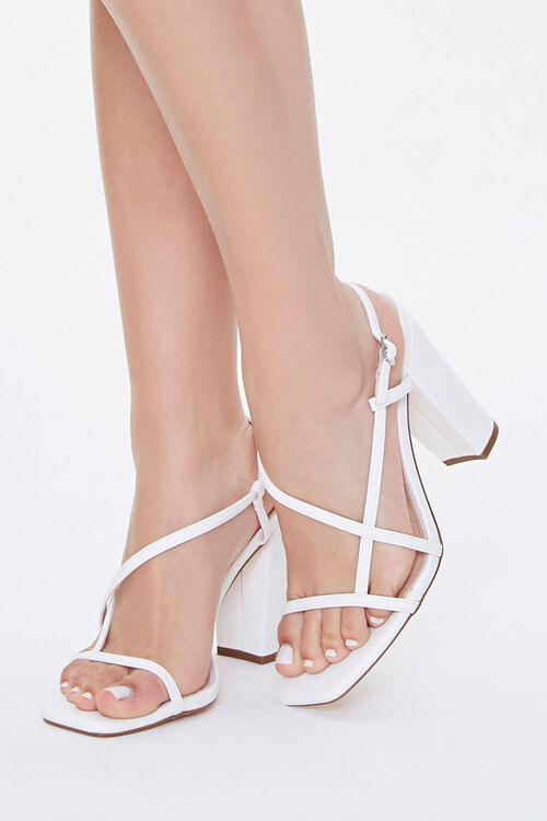 Strappy Faux Leather Block Heels, image 1
