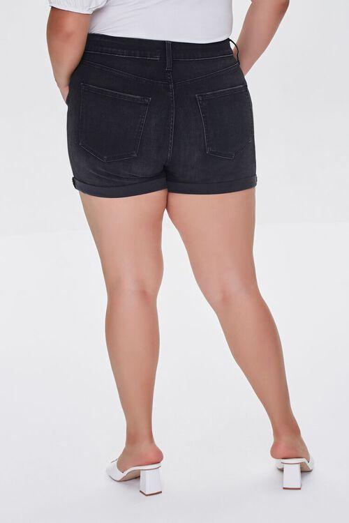 WASHED BLACK Plus Size Cuffed Denim Shorts, image 4