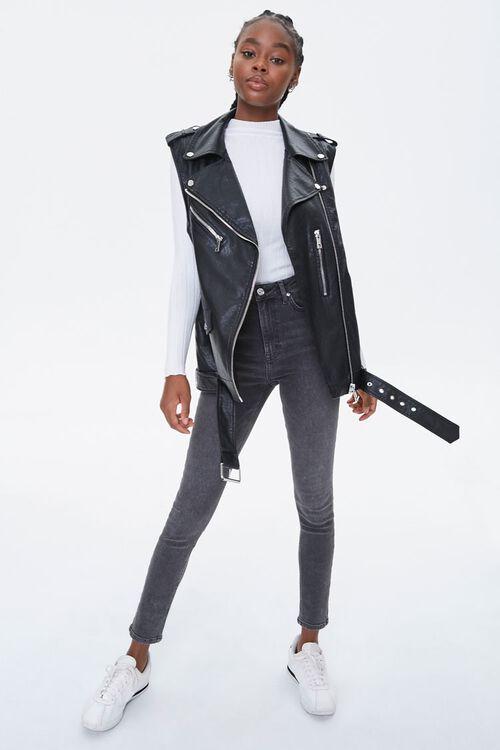 BLACK Faux Leather Moto Vest, image 4