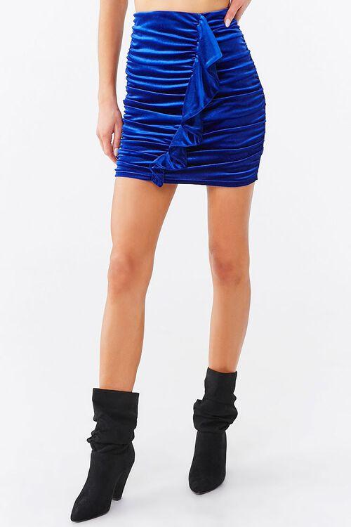 Ruched Velvet Mini Skirt, image 2