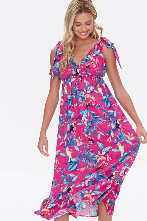 MAGENTA/MULTI Tropical Print Midi Dress, image 1