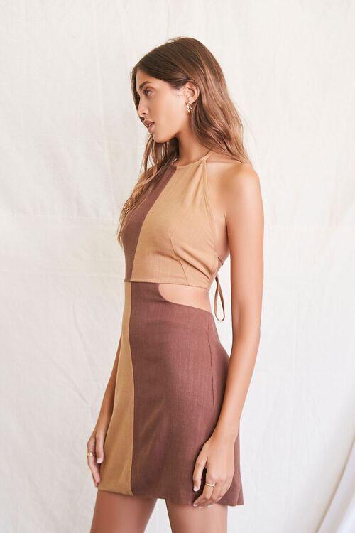 BROWN/LIGHT BROWN Colorblock Halter Mini Dress, image 5