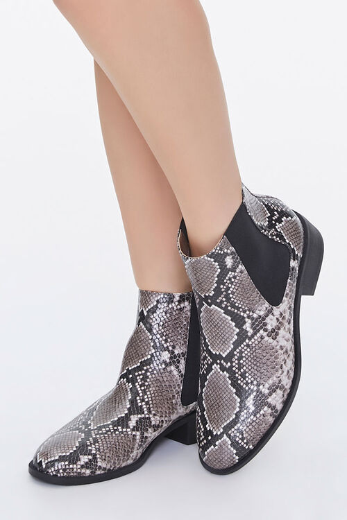 Faux Snakeskin Chelsea Boots, image 1