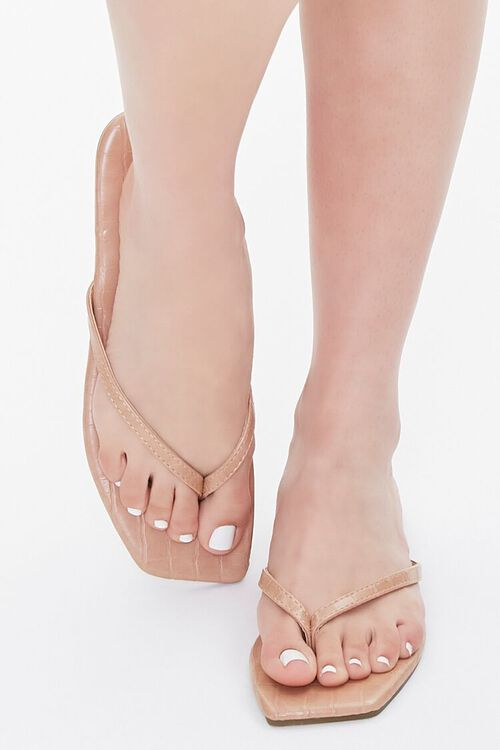 Faux Leather Toe-Thong Sandals, image 4