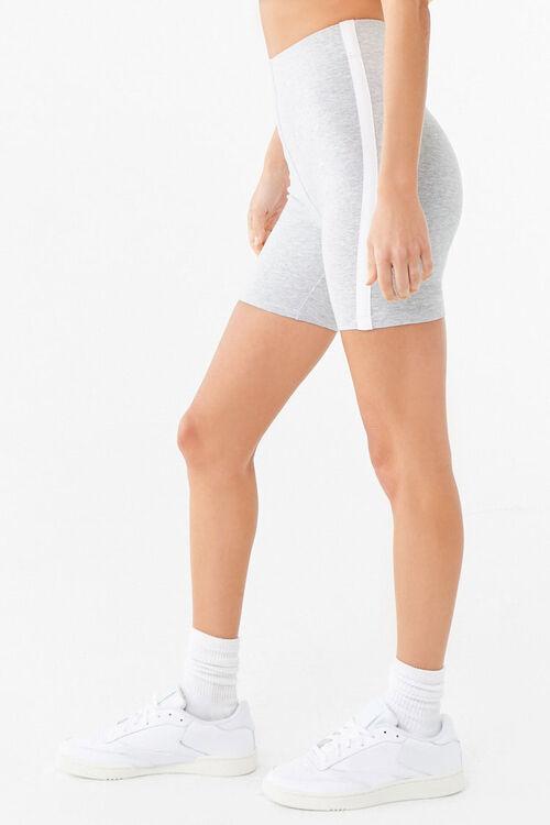 HEATHER GREY/WHITE Striped Biker Shorts, image 3