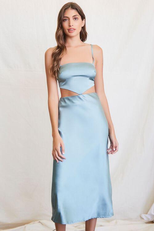 SEAFOAM Cutout Satin Midi Dress, image 1