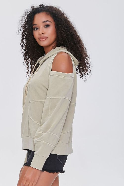 TAUPE Open-Shoulder Seamed Hoodie, image 2