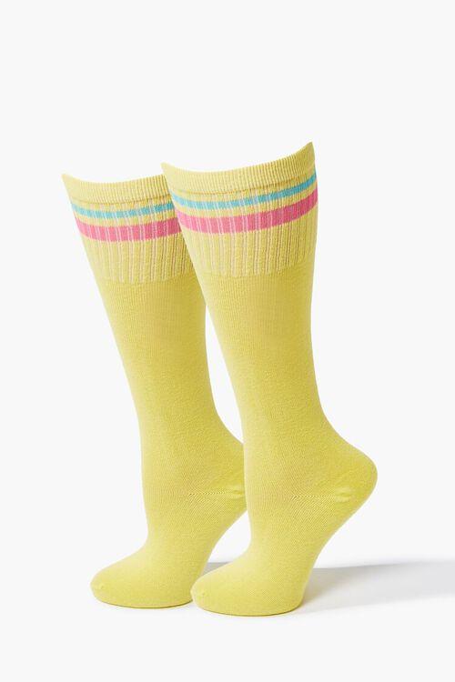Striped-Trim Knee-High Socks, image 1