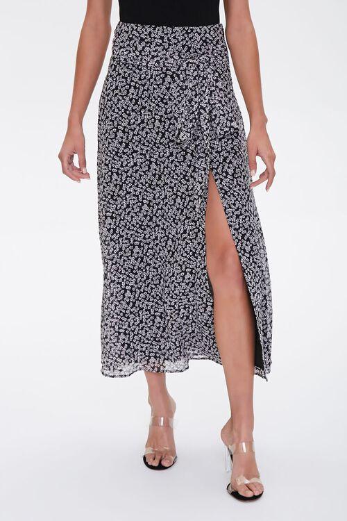 Floral Tie-Waist Midi Skirt, image 1