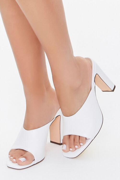 WHITE Slip-On Block Heels, image 1
