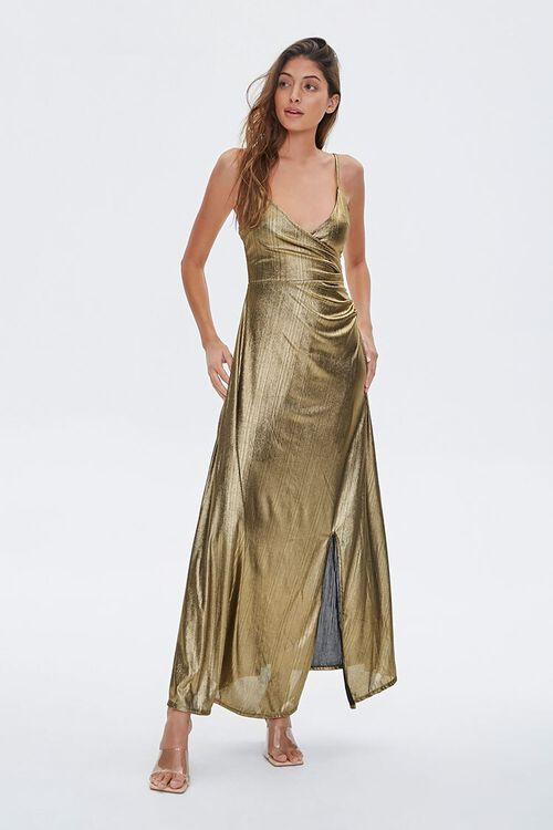 GOLD Metallic Cami Maxi Dress, image 4