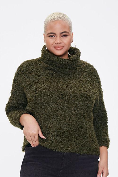 Plus Size Boucle Turtleneck Sweater, image 1