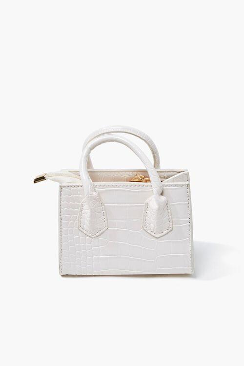 WHITE Faux Croc Leather Crossbody Bag, image 1