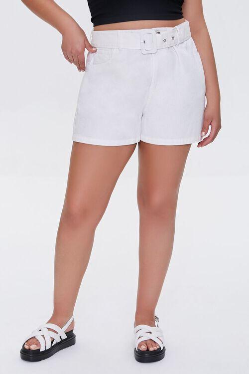 WHITE Plus Size Belted Shorts, image 2