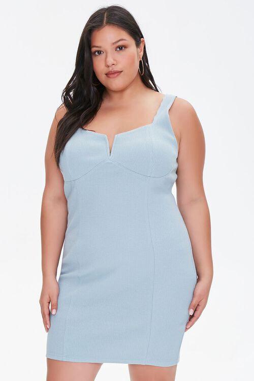 Plus Size Notched Bodycon Dress, image 1