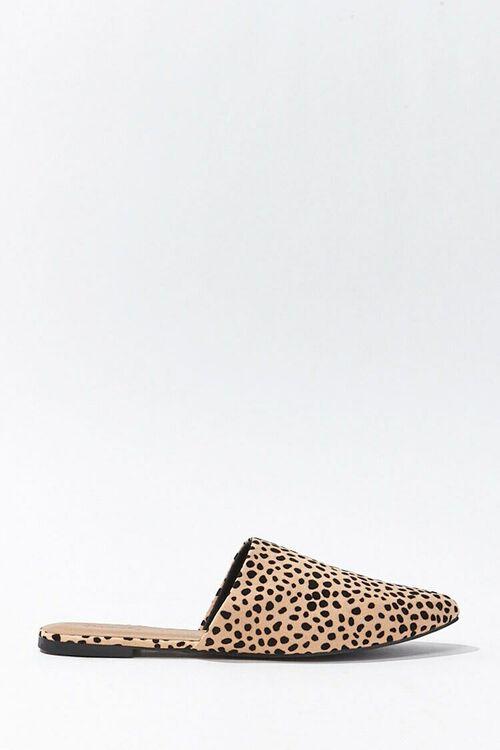 TAN/BLACK Faux Suede Cheetah Mules, image 1