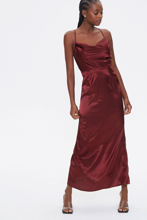 Satin Cowl Neck Maxi Dress, image 1