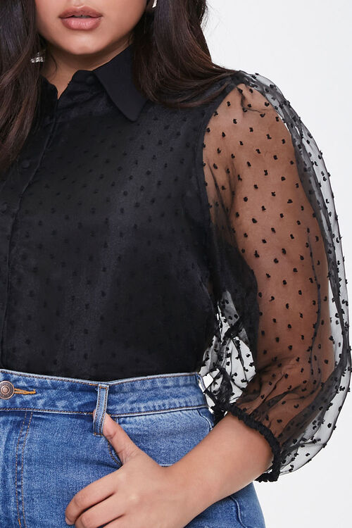 Plus Size Clip Dot Organza Shirt, image 5