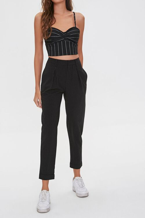 BLACK/WHITE Pinstriped Ankle Pants, image 1