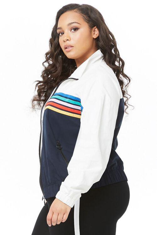 Plus Size Striped-Trim Colorblock Jacket, image 2