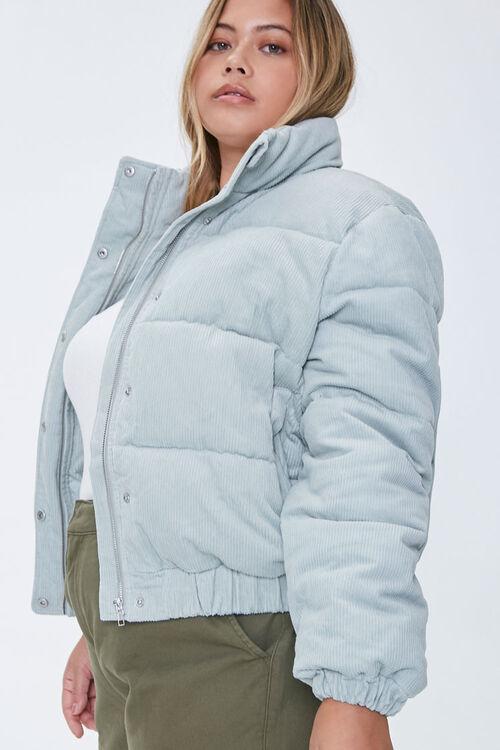 Plus Size Corduroy Puffer Jacket, image 2