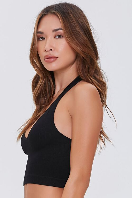 Seamless Ribbed Knit Halter Top, image 2