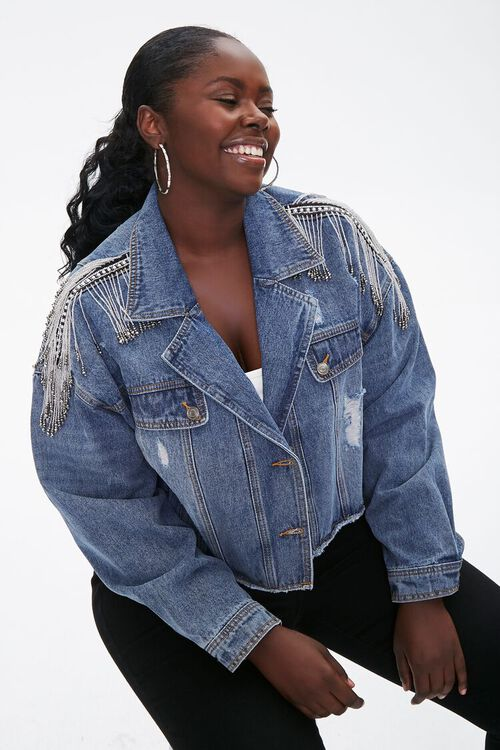 Plus Size Cropped Fringe Denim Jacket, image 1