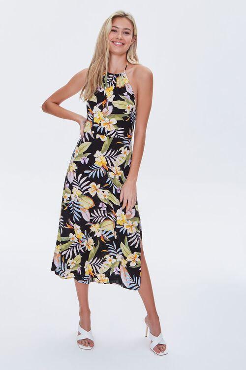 Tropical Floral & Leaf Halter Dress, image 1