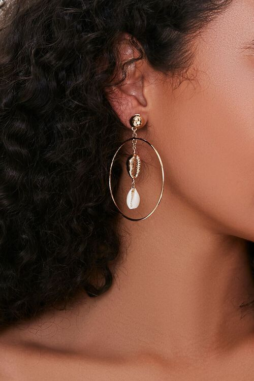 Cowrie Shell Hoop Earrings, image 1