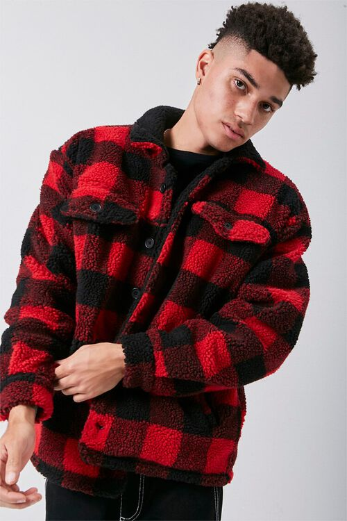 Faux Shearling Buffalo Plaid Jacket, image 5