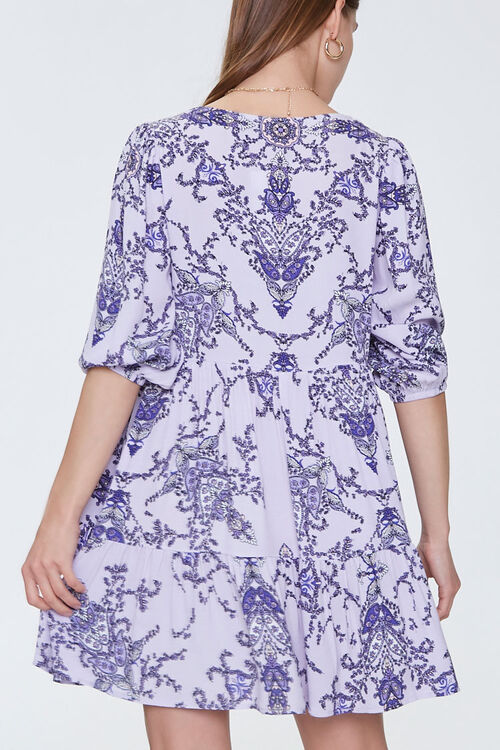 Ornate Floral Print Swing Dress, image 3