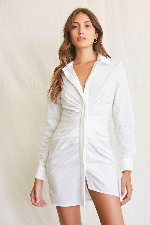 WHITE Ruched Shirt Mini Dress, image 1