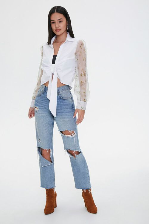 Knotted Floral-Sleeve Shirt, image 4