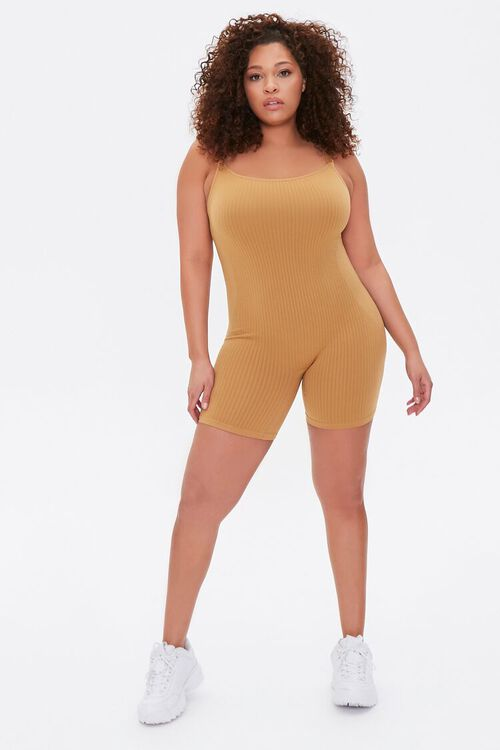 Plus Size Ribbed Cami Romper, image 4