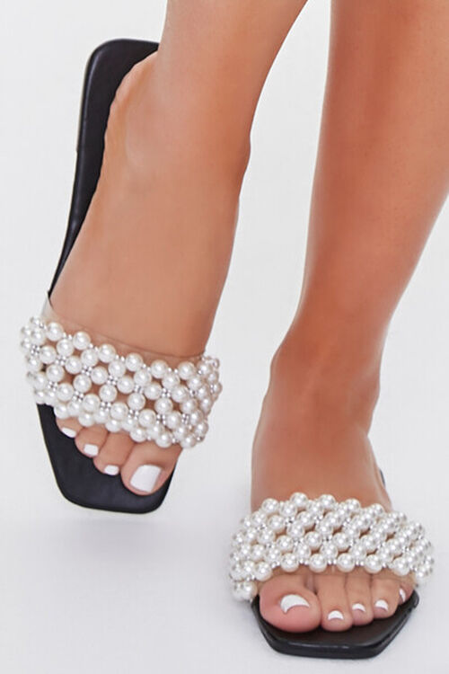 Faux Pearl Slip-On Sandals, image 4